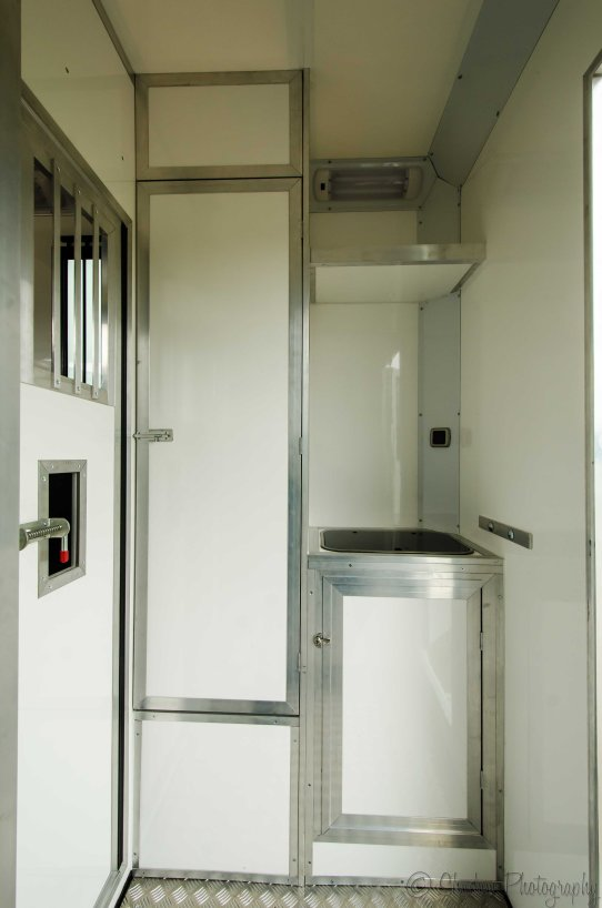 Living Area Wardrobe and Sink - Hob in The Equihunter Arena 3.5 tonne Horsebox