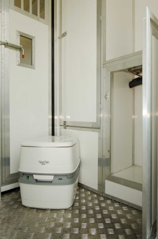 Portable flushing toilet in The Equihunter Arena 3.5 tonne Horsebox