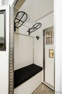 Twin saddle racks in the The Equihunter Arena 3.5 tonne Horsebox
