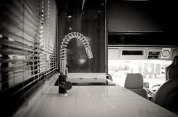 Designer tap set in Corian® Worktop with integral covered sink