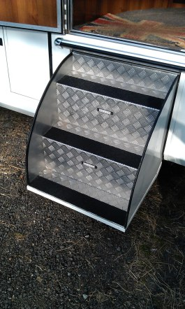 Fold Down Steps with Safety Grip Edging