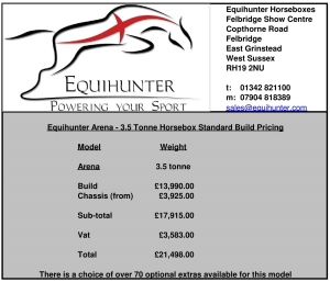 Equihunter Arena 3.5t Standard Build Pricing Page