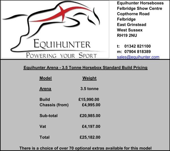 Equihunter Arena 3.5 Tonne Horsebox Pricing